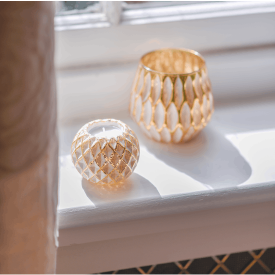 Hexagonal White And Gold Candle Holder