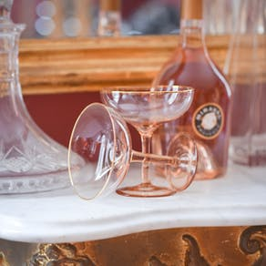 Set Of Two Blush Pink Champagne Glasses