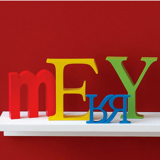 Bright Coloured Wooden Letter