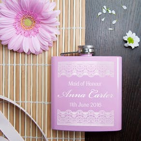 Personalised Pink Wedding Hip Flask Gift