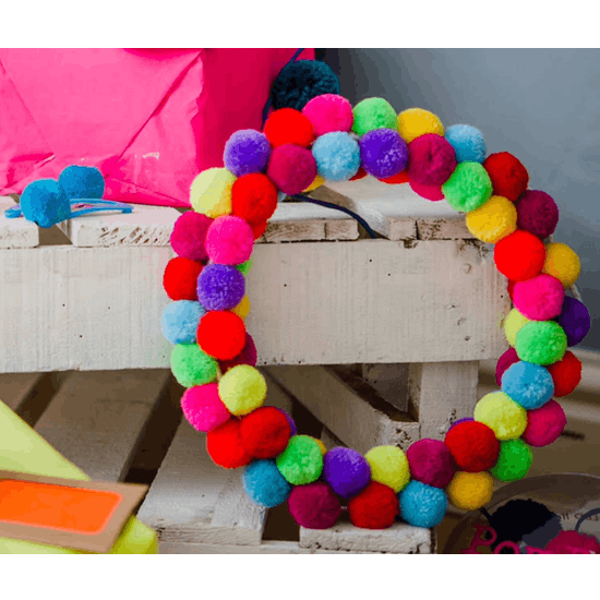 Multicoloured Pom Pom Wreath