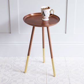 Round Copper Table with Brass Legs