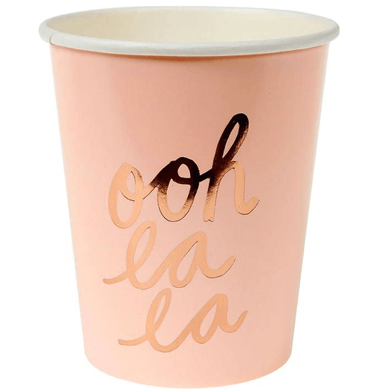 Typographic Pastel Paper Party Cups