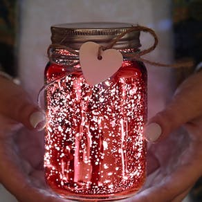 Sparkle Red Jam Jar Light
