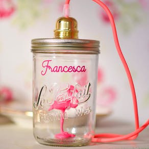 Personalised Neon Flamingo In A Jar Lamp