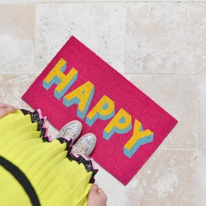 Happy Block Font Door Mat