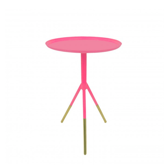 Metal Painted Tripod Tables With Brass Feet