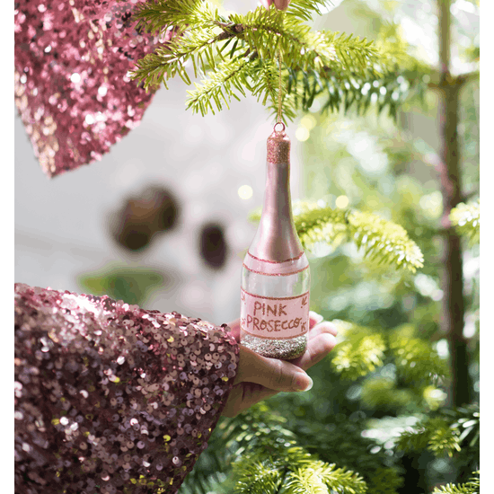 Pink Prosecco Sparkle Christmas Decoration