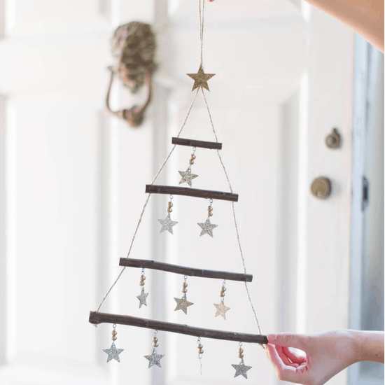 Hanging Tree With Gold Star Decorations