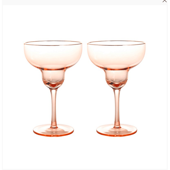 Set of Blush Margarita Glasses