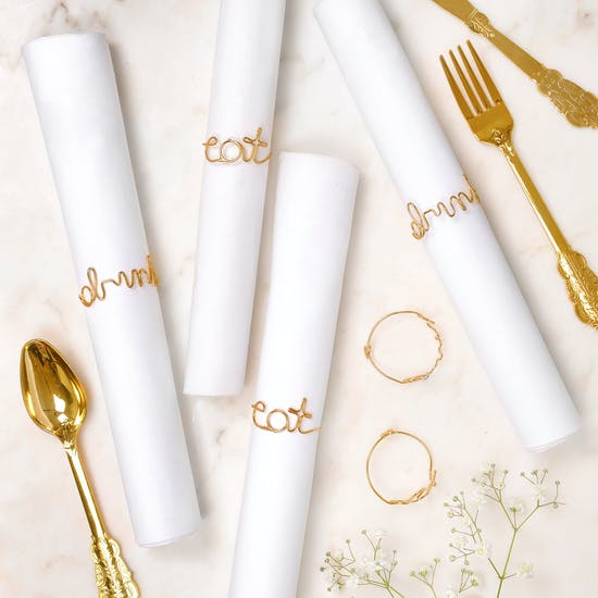 Set Of Six Gold Wire Napkin Rings