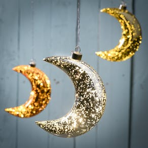 Light Up Sparkle LED Hanging Moon