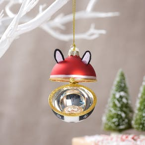 Christmas French Bulldog Locket Bauble