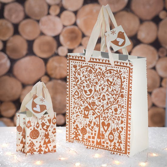 Christmas Copper Design Gift Bags