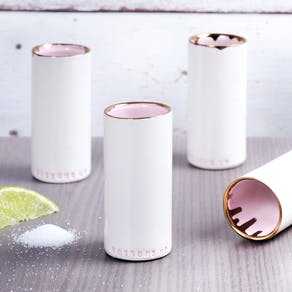Ceramic Shot Cup In Pink And Copper