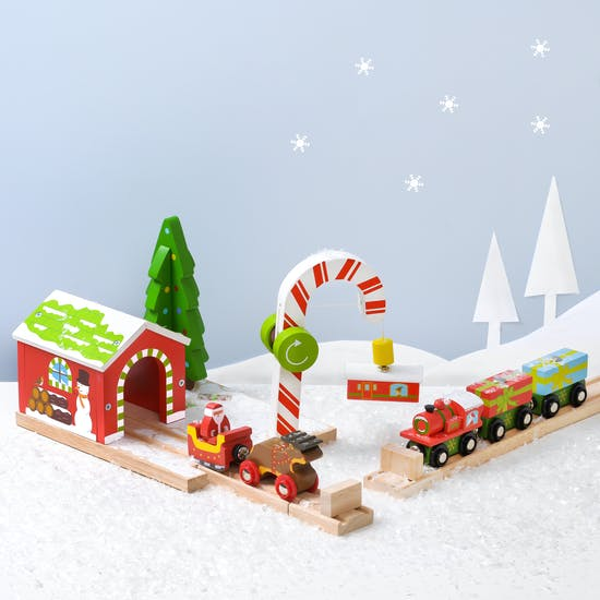 Christmas Candy Cane Tunnel And Santa Train Set