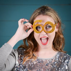 Gold Sparkle Number Glasses