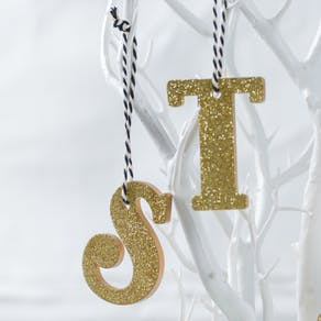 Gold Sparkle Letter Hanging Decorations