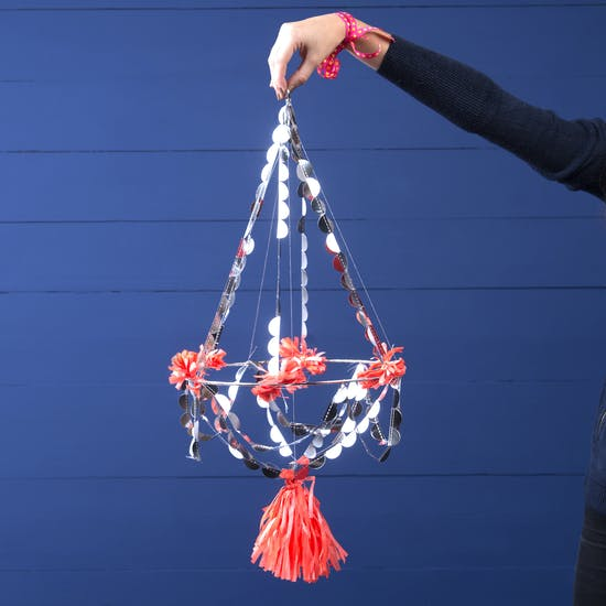 Paper And Tassle Pajaki Christmas Chandelier