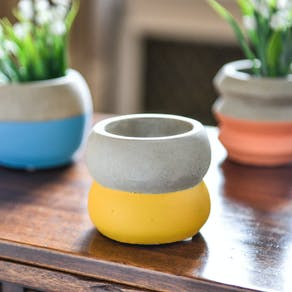Set Of Three Colour Block Cement Planters