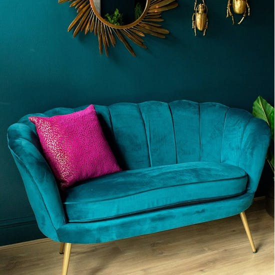Teal Scalloped Cocktail Sofa