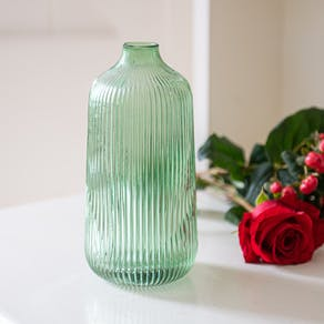 Tall Fluted Green Glass Vase