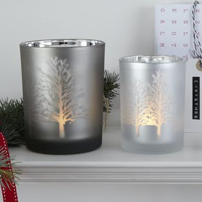 Tree Silhouette Mirror Candle Holders