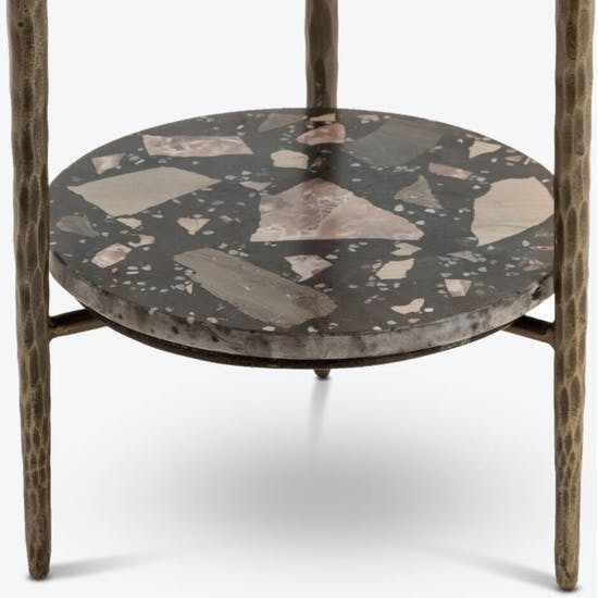 Terrazzo Stone Side Table In Nougat Brown
