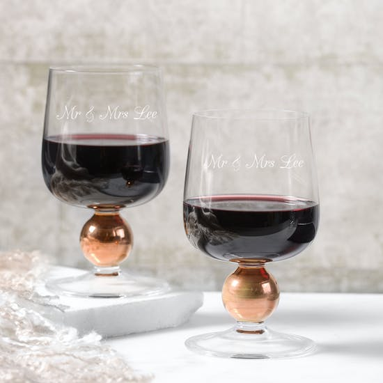 Personalised LSA Set Of Two Rose Gold Wine Glasses