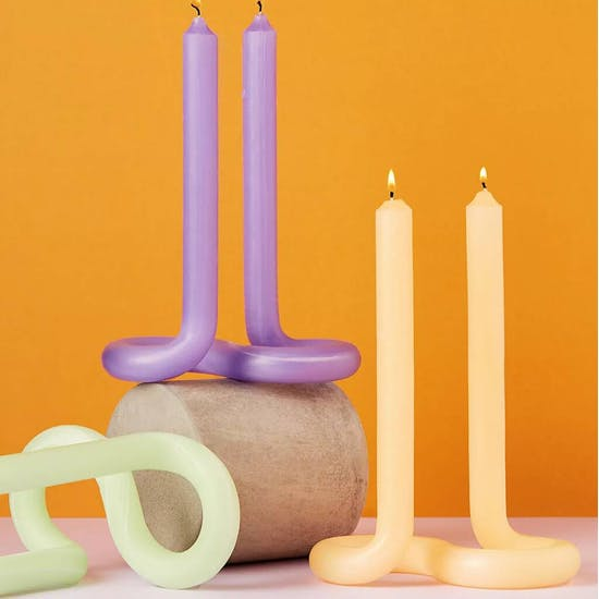 Twist Shaped Hand Made Double Candle