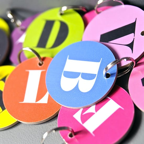 Typographic Bright Alphabet Keyring