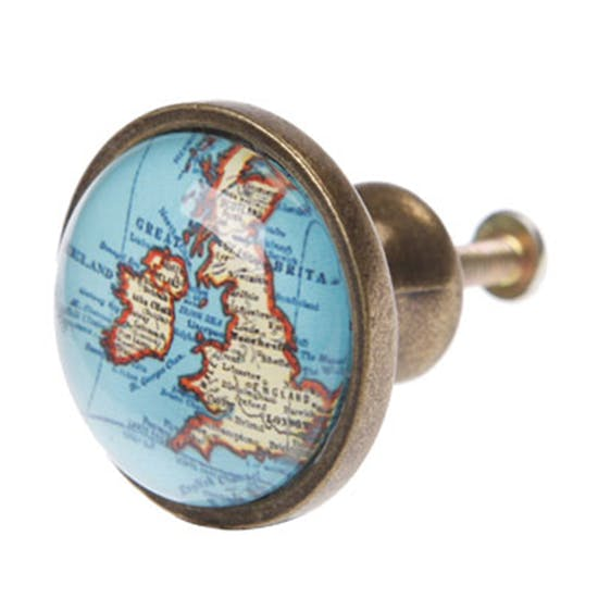Vintage Map Door Knobs
