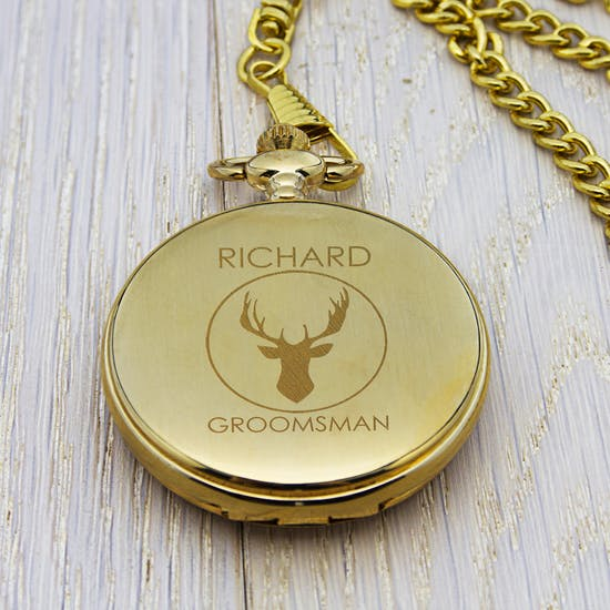 Wedding Party Stag Design Pocket Watch