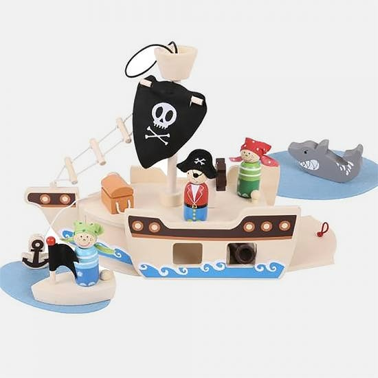 Wooden Pirate Ship And Pirates