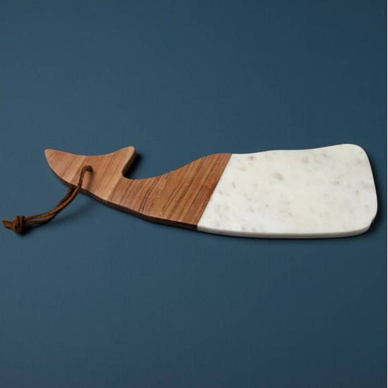 White Marble And Wood Whale Serving Board