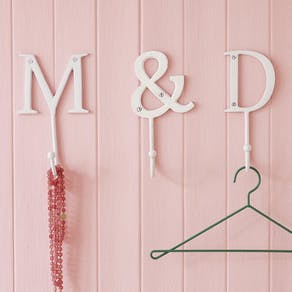 White Metal Alphabet Hooks