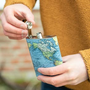 World Map Design Hip Flask