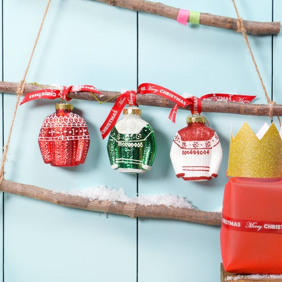 Three Christmas Jumper Hanging Baubles
