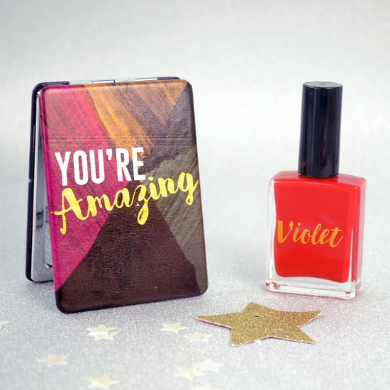You're Amazing Mirror With Personalised Nail Varnish