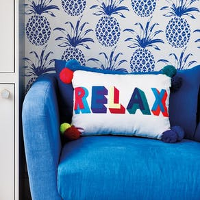 Embroidered Bright Relax Pom Pom Cushion