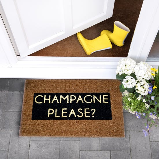 Champagne Please? Glitter Doormat