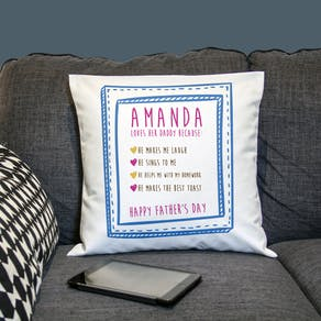 Personalised Cushion 'Reasons I love Daddy'