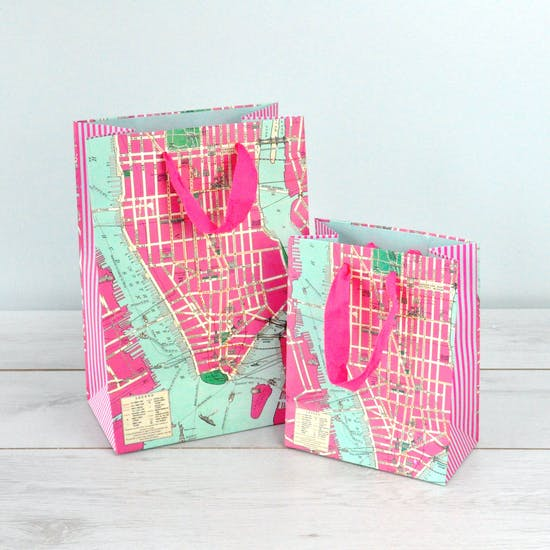 New York Vintage Map Inspired Gift Bags
