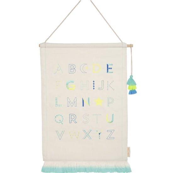 Blue Alphabet Embroidered Wall Sampler