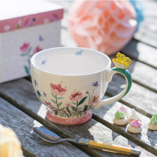 Butterfly China Gift Boxed Teacup