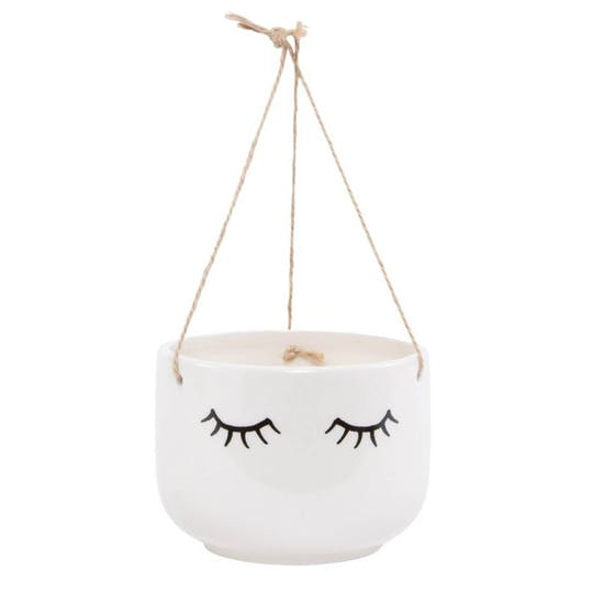 Ceramic Hanging Eyes Shut Hanging Planter