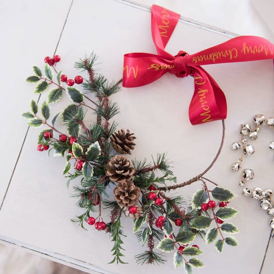 Christmas Half Wreath With Personalised Ribbon