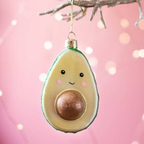 Cute Avocado Glass Christmas Bauble