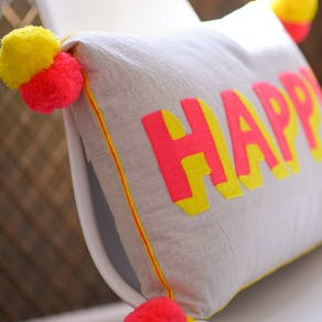 Happy Pom Pom Cushion