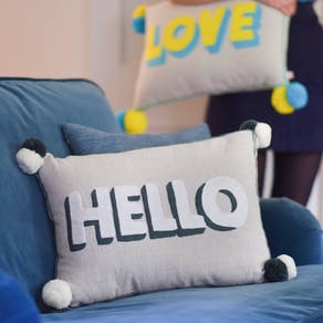 Hello Pom Pom Cushion